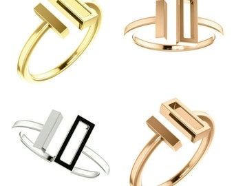 Gorgeous Solid Handcrafted 14 Karat White, Rose, or Yellow Gold Bar Ring.