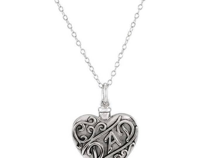 "925 Sterling Silver ""Dad"" or ""Mom"" Heart Ash Holder Pendant & 18"" Necklace"