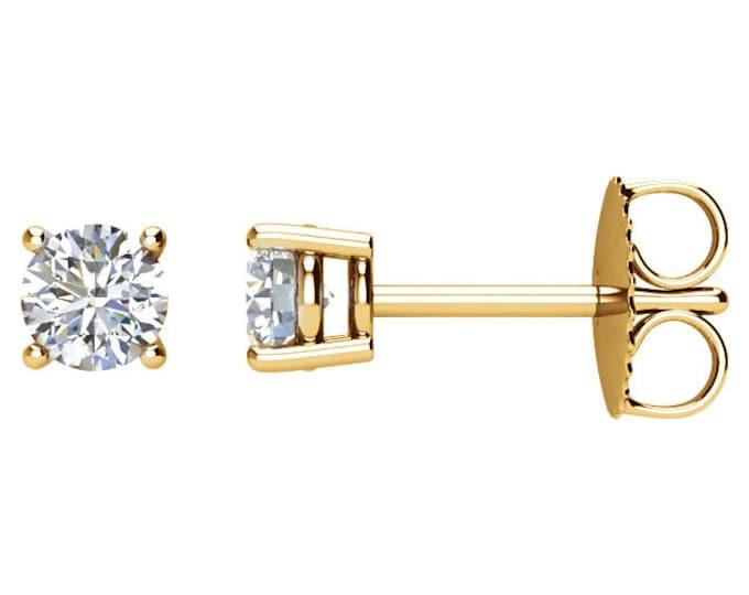 Beautiful 4 Prong Setting 14 Karat White, Rose or Yellow Gold SI2 G-H 1/2 CTW Diamond Stud Earrings.