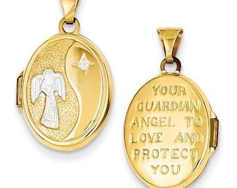 Beautiful 14 Karat Yellow & White Gold 17mm Guardian Angel Oval Locket