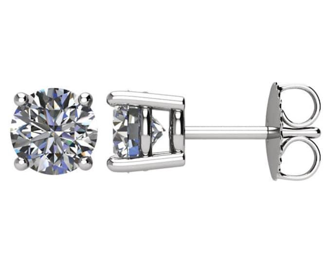 Beautiful 4 Prong Setting 14 Karat White, Rose or Yellow Gold SI2 G-H 1.50 CTW Diamond Stud Earrings.