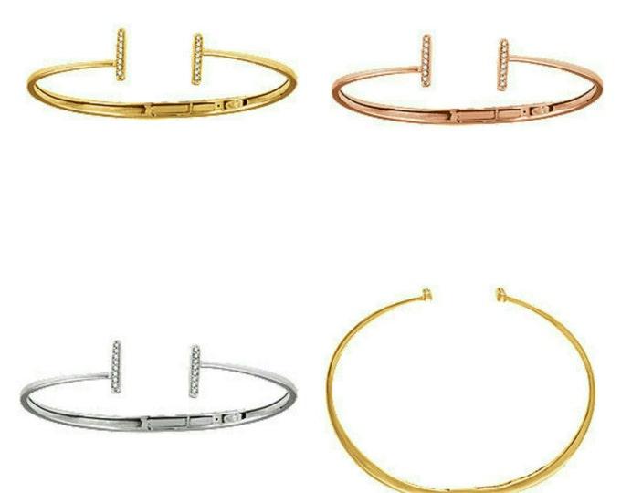 Gorgeous 14 Karat White Rose Or Yellow Gold 1/6 Carat Diamond Vertical Bar Cuff Bracelet.