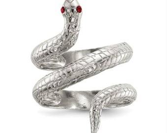 Handmade Rhodium 925 Sterling Silver Snake Ring