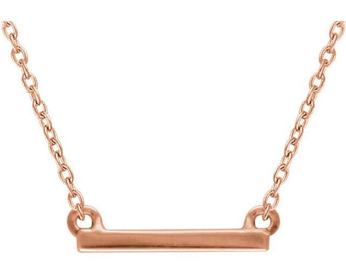 "Custom Solid 14 Karat Rose, White or Yellow Gold Petite Bar 16-18"" Necklace"