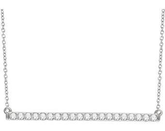 "Gorgeous 14 Karat White, Rose or Yellow Gold 1/2, 1/3 or 1/6 CTW Diamond Bar 16-18"" Necklace"