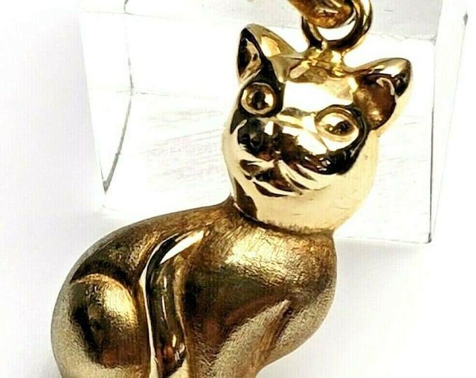 Vintage 14 Karat Yellow Gold Handcrafted Cat Pendant