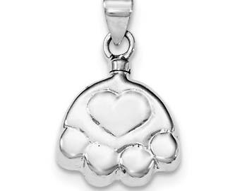 Sterling Silver Rhodium-plated Polished Puppy Paw Ash Holder Pendant