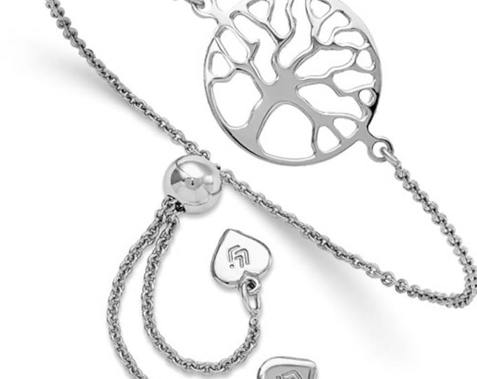 "Handmade Rhodium 925 Sterling Silver Tree Of Life Adjustable Bolo Bracelet 5""-9"""