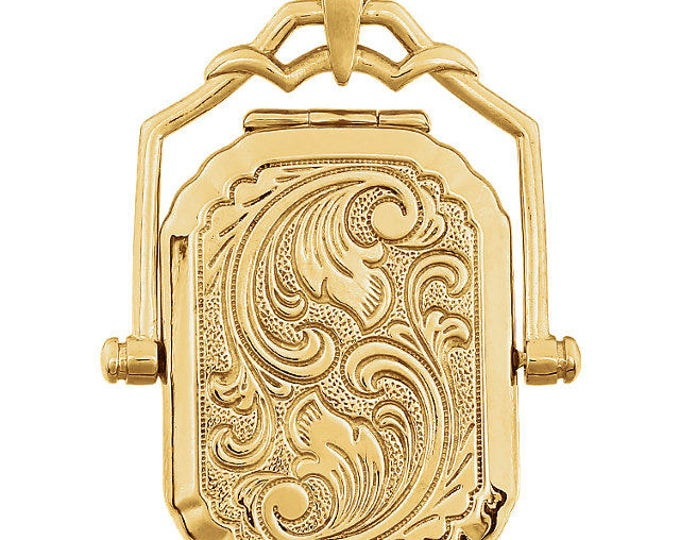 Custom Handmade Solid 14 Karat Yellow Gold Scroll Engraved Swivel Locket