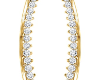 Gorgeous Custom Solid 14 Karat Rose, White or Yellow Gold Curved 1/3 CTW Diamond Climber Earrings.