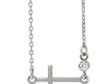 Custom Solid Sterling Silver , Platinum or 14 Karat Rose, White or Yellow Gold .03 CTW Diamond Sideways Cross Necklace