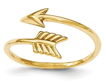 14 Karat Yellow Gold Adjustable Arrow Ring