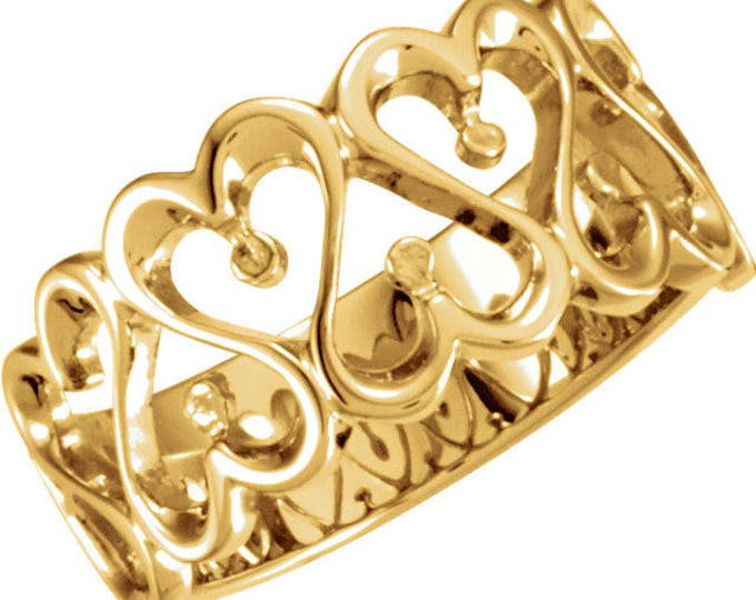 Custom Handcrafted Solid 14 Karat 10mm Heart Design Duo Band Ring