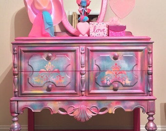 pink painted furniture. Kids Dresser, Pink Painted Furniture ,modern Girls Dresser ,  Princess Purple