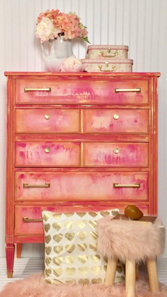 Sold!!!!! Pink painted dresser , girls bedroom furniture , pink coral white  ,