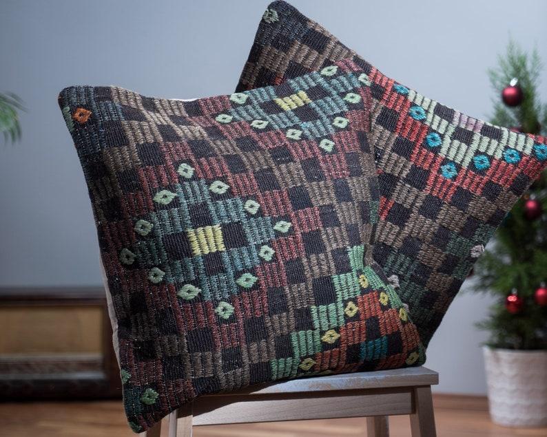 Kilim Pillow Green Decorative Pillow set Decorative Pillow Embroidered Kilim Pillow 18x18 Paypal Kilim Pillow Cover Kilim pillow set