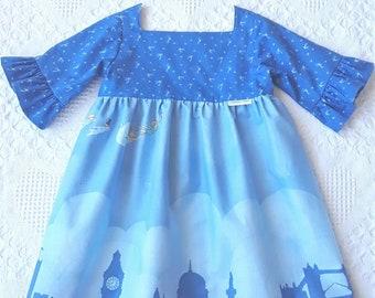 31296996b Peter Pan blue dress, little girl dress, flying to Neverland