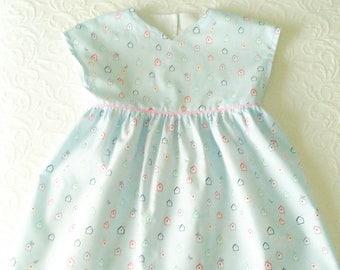 Birds houses baby girl dress, little girl dress, light blue