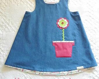 Blue jeans A-line dress, reversible baby girl dress, flower power dress, flower pot pocket