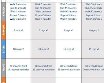 4-Week Progressive Fitness Plan Worksheets