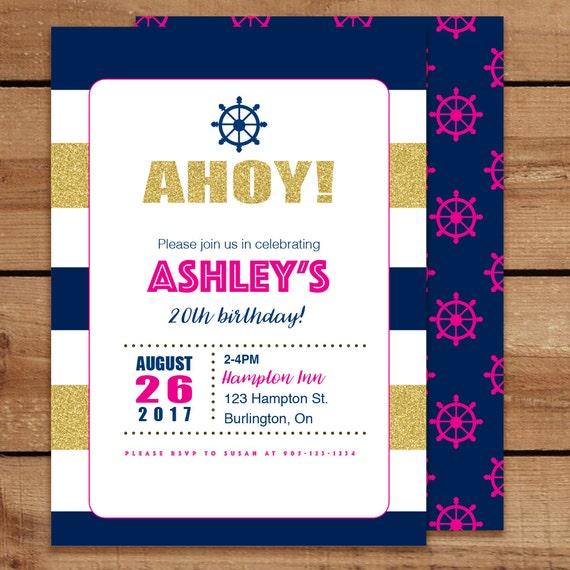 Ahoy Nautical Birthday Invitations Girl Adult