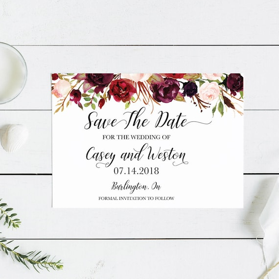 Floral Save the Date Card Woodland Wedding Save the Date Card Rustic Save the Date Card Garden Wedding Save the Date Card