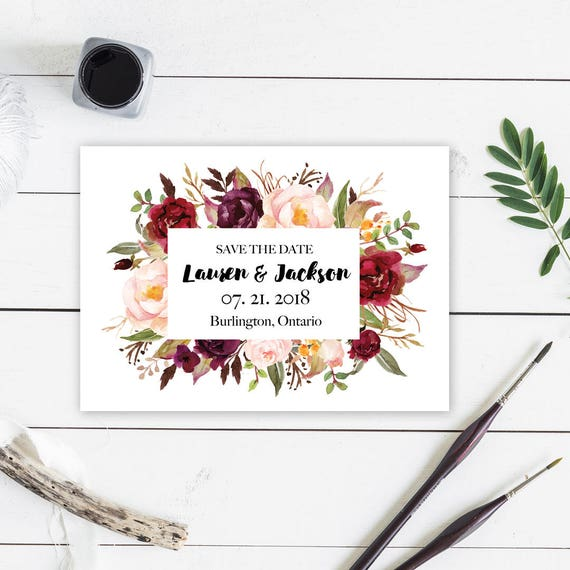 Printable Save The Date Cards Save The Dates Save The Date Card Botanical Save The Date Card Floral Save The Date Bohemian Wedding