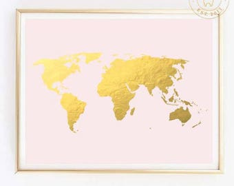 Gold world map etsy pink and gold world map gold foil world map world map wall art gold map gold foil map canvas map large world mapmap postergold world gumiabroncs Choice Image