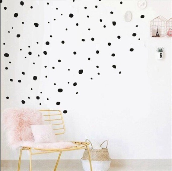 Polka Dot Vinyl Wall Decalshand Painted Circle Decalsvinyl Etsy