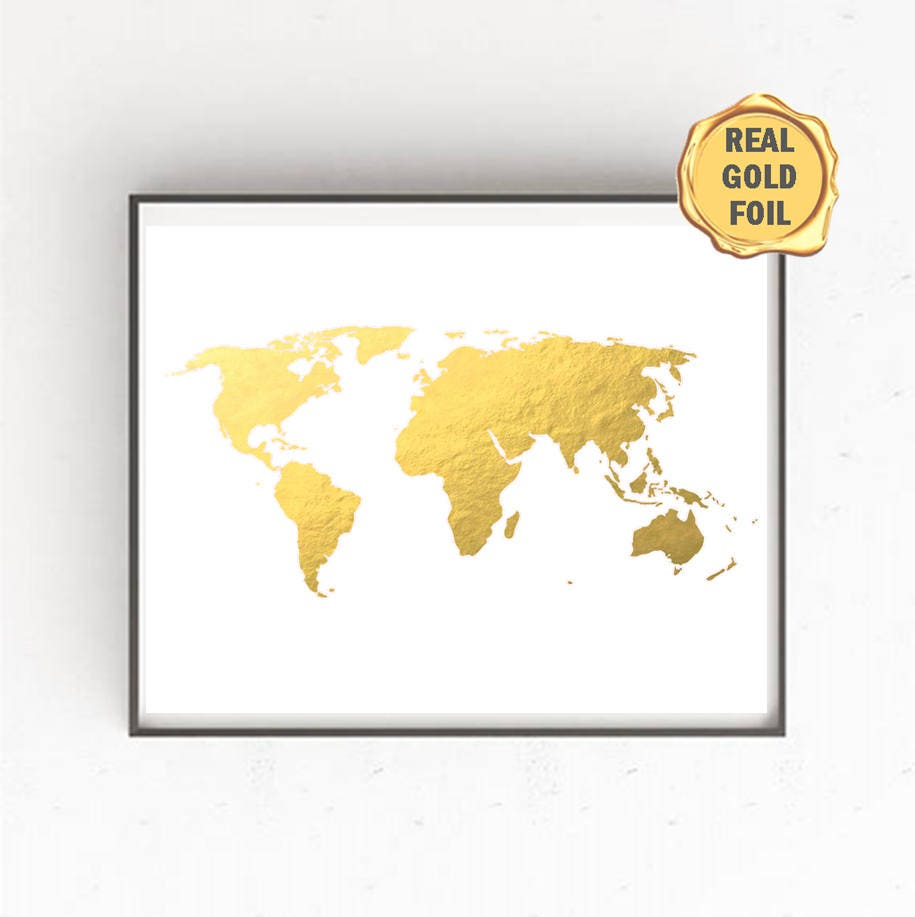 GOLD FOIL World Map Gold Foil World Map World Map Wall Art | Etsy