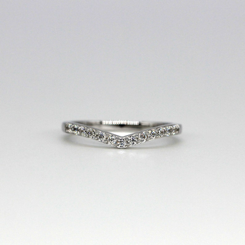 Stackable Ring V Wedding Ring Half Band Ring Curve Band Ring 925 Sterling Silver *1774 Eternity Ring