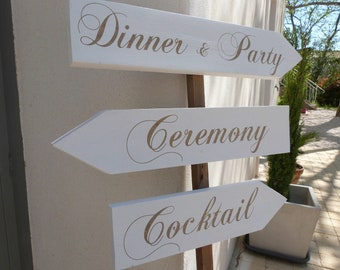 Pancartes  directionnelles en bois personnalisables pour mariage.Flèches  mariage