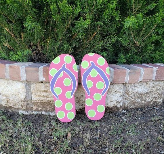 Polka Dot Flip Flop Yard Decorations Sandal Wood Sign Flip Etsy
