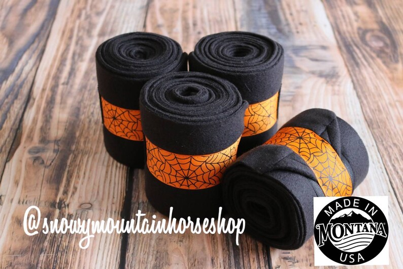 Polo Wraps  Stable Wraps Set of 4 or 2 Standard  OR Pony Yearling Size Halloween Spider Web