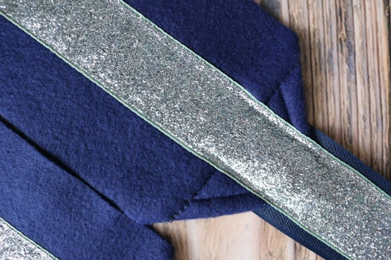 Metallic Navy Base Silver Glitter Polos Set of 4 Polo Wraps  Stable Wraps Standard or Yearling Pony Size
