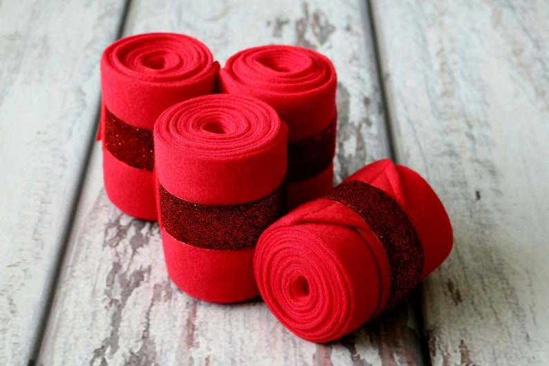 Standard or Yearling Pony Size Set of 2 OR  4 Polo Wraps  Stable Wraps Red Glitter  Ribbon