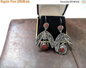 ON SALE Vintage Sterling Silver and Red Glass Earrings