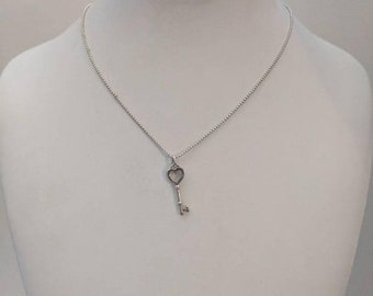ON SALE Vintage Tiffany Sterling Silver Necklace with Tiffany Silver Key Pendant