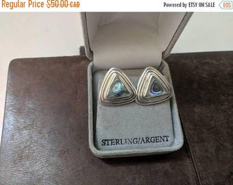 ON SALE Vintage Sterling Silver and Mother of Pearl Earrings