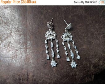 ON SALE Vintage Sterling Silver and Clear Stone Earrings