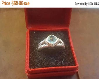 ON SALE Vintage Sterling Silver, Gold and Blue Stone Ring