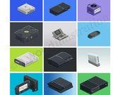 Modern Consoles Pixel Art...