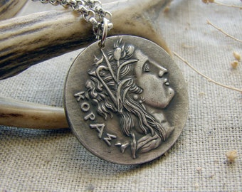 Persephone Kore and Nike ancient Greece copy of coin pendant necklace jewelry spiritual silver gothic jewellery ceremonial wiccan amulet