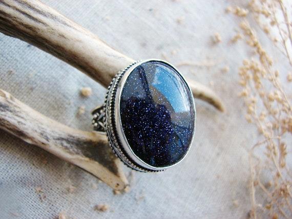 925 Ring Sterling Silver Ring Size 8.5 Midnight BlueBlack Sandstone Silver Ring