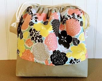 Spring Floral Knitting Project Bag - Large Drawstring