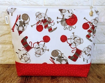 Knitting Project Bag with Knitting Sheep / Medium Size