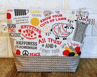 Knitting Quotes Project Bag - Small / Sock Size
