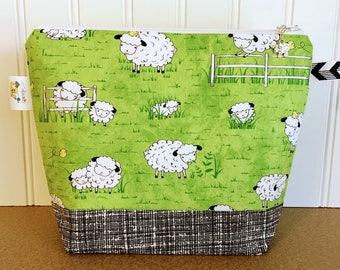 Small Sock Size Knitting Project Bag decorated with Cute Sheep