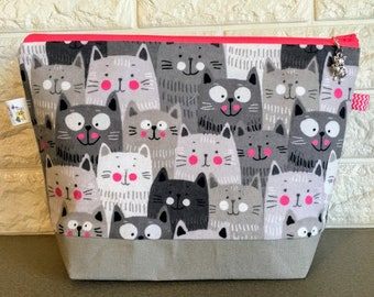 Cats Knitting Project Bag - Medium / Shawl Size