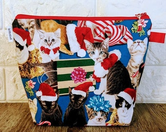 Cats Christmas Project Bag - Small / Sock Size